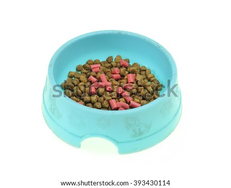 Cup for a forage for dogs and cats. It is isolated on a white background - stock photo