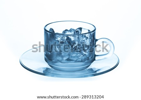 cup glass with ice cubes. Isolated on white background