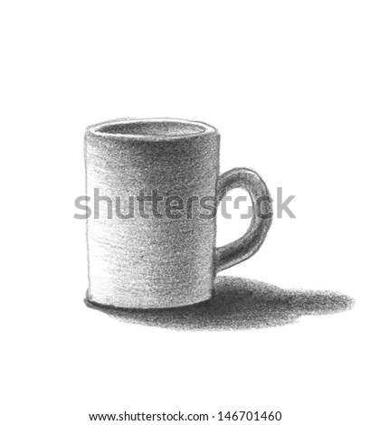 Cup. Hand drawn. Jpeg version. - stock photo