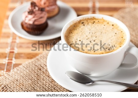 Cup. heart-shaped toast  and a cup of coffee  - stock photo