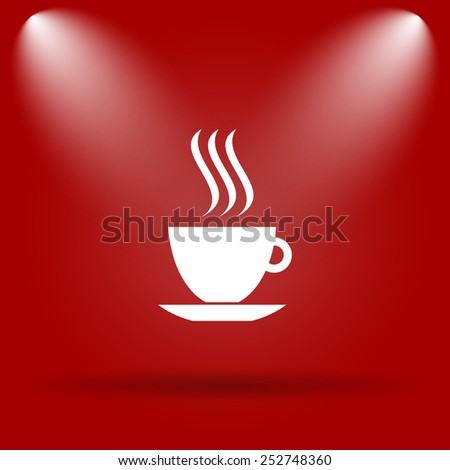 cup icon. Flat icon on red background.