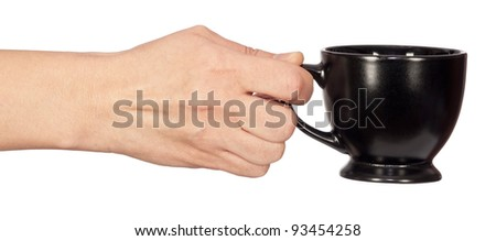 Cup in hand, isolated on white background - stock photo