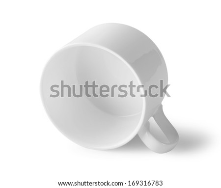 Cup lying on its side isolated on white background