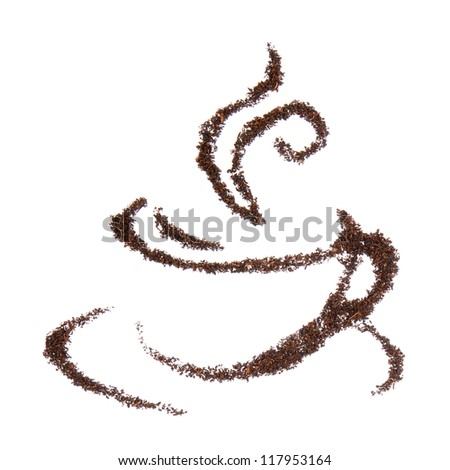 Cup made with black tea leaves isolated on white background