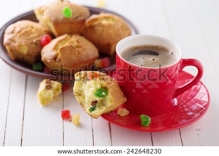 Cup of aromatic coffee and homemade cakes on white  wooden background. Selective focus. - stock photo