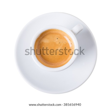 Cup of aromatic italian espresso. Isolated on a white background.