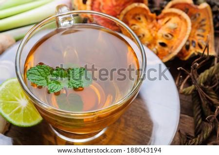 cup of Asian herbal tea  - stock photo