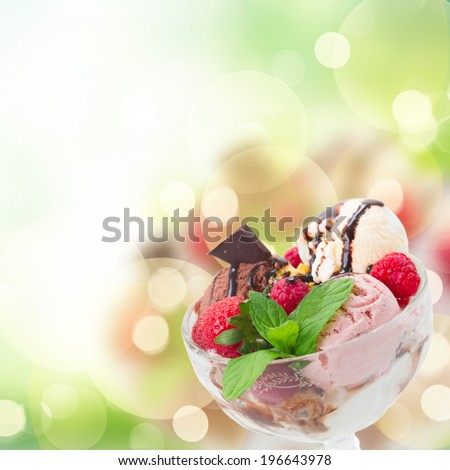 cup of assorted  icecream close up   on abstract  background with copy space - stock photo