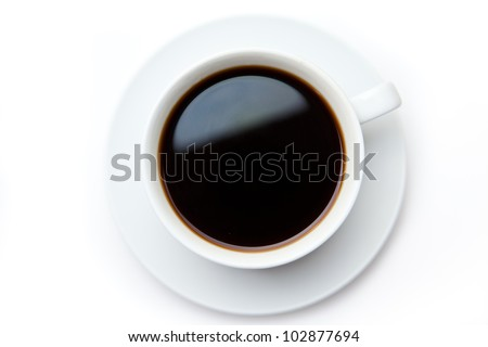 Cup of black coffee against white background