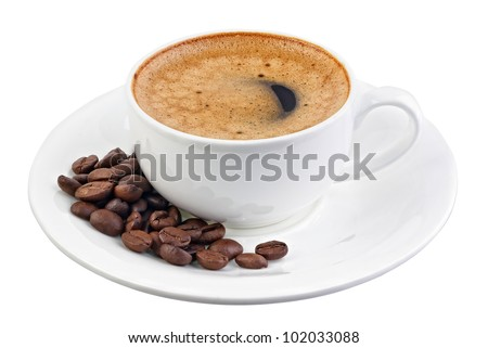 Cup of black coffee isolated on white - stock photo