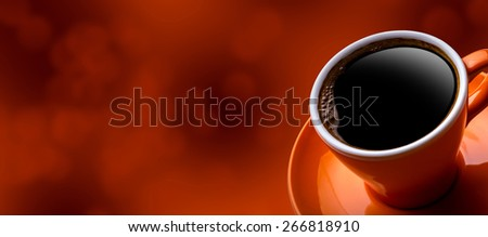 Cup of black coffee on bokeh background. Banner of a cup of coffee and a blurred background - stock photo
