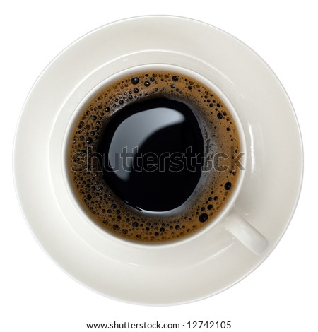 cup of black coffee shot from above, isolated on white (with clipping path)
