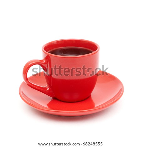 cup of black coffee white background red mug - stock photo