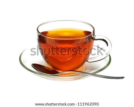 Cup of black tea and spoon, isolated on white - stock photo