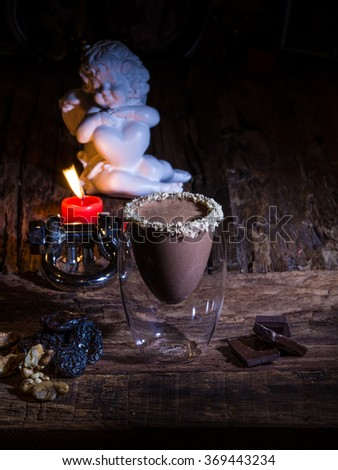 Cup of cacao with chocolate