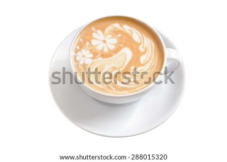 Cup of cappuccino isolated on white background - stock photo