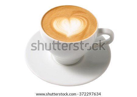 cup of cappuccino with foam in the form of heart (isolated on white)