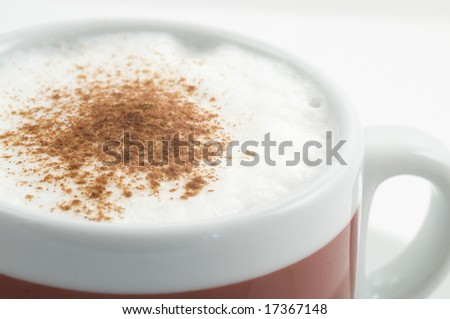Cup of capuccino on white background - stock photo