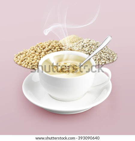 cup of cereal on color background - stock photo