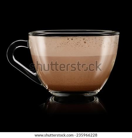 Cup of chocolate milkshake on black background - stock photo