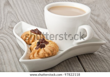 cup of cocoa and cookies - stock photo