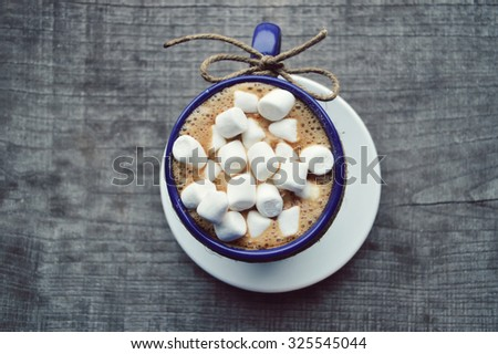 Cup of cocoa with marshmallows - stock photo