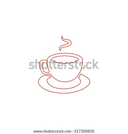 Cup of coffe. Red outline illustration pictogram on white background. Flat simple icon