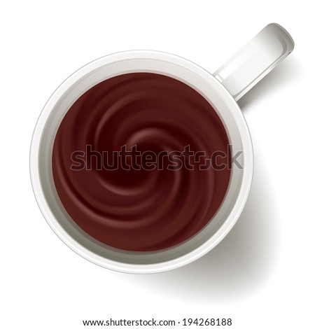 Cup of coffee - above view. Coffee swirl. Raster version. - stock photo