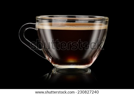 Cup of coffee americano on the black background - stock photo