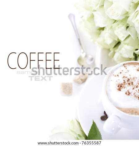 cup of coffee and a bouquet of delicate white roses on white background - stock photo