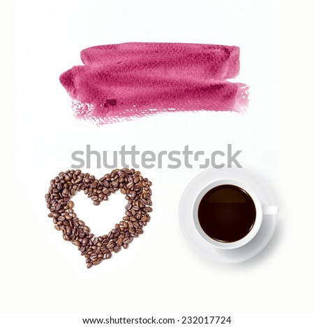 Cup of coffee and abstract heart of coffee beans with watercolor brush background. - stock photo