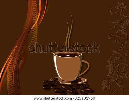 Cup of coffee and beans design background. - stock photo
