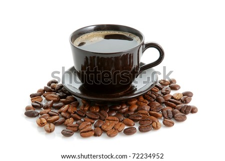 Cup of coffee and beans on white background - stock photo