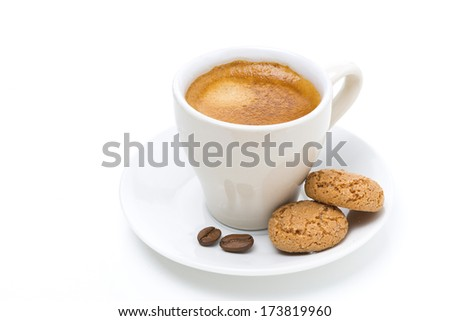 cup of coffee and biscotti, isolated on white - stock photo