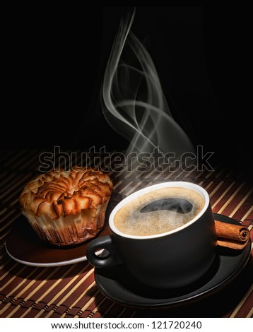 Cup of coffee and cake - stock photo
