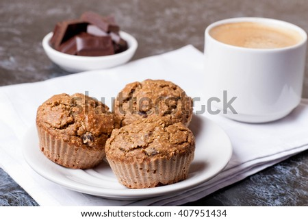 cup of coffee and cakes, horizontal, close up