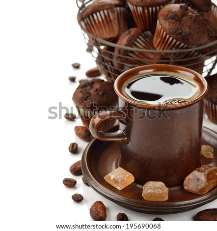 Cup of coffee and chocolate muffins on a white background