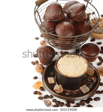 Cup of coffee and chocolate muffins on a white background - stock photo