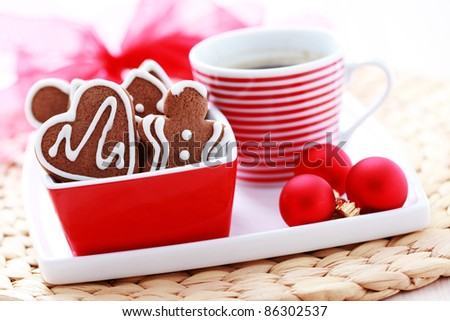 cup of coffee and delicious gingerbreads - seet food - stock photo