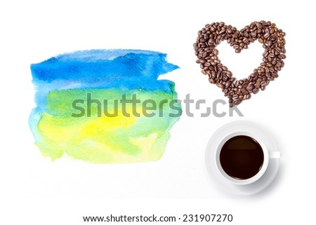 Cup of coffee and heart of coffee beans with watercolor brush background. - stock photo