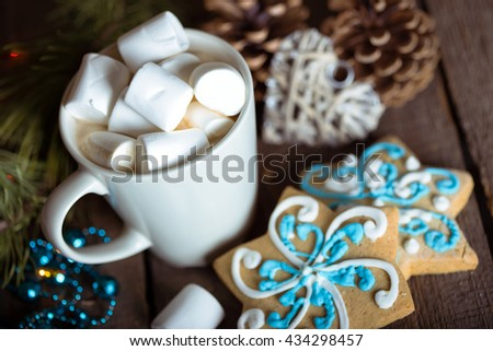 cup of coffee and marshmallows. gingerbread and Christmas decorations