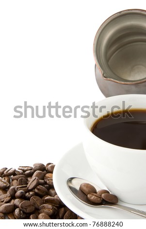 cup of coffee and pot with roasted beans isolated on white background - stock photo