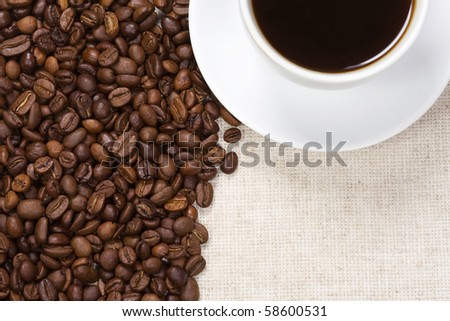 cup of coffee and sackcloth