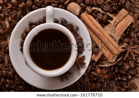cup of coffee and spices - stock photo
