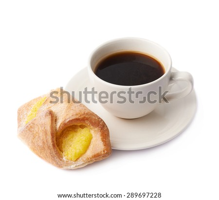 Cup of coffee and sweet bread pastry with yellow cream filling composition isolated over the white background - stock photo