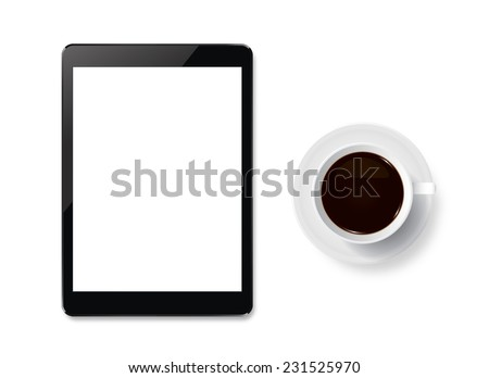 Cup of coffee and touch screen tablet with white area for copy space. - stock photo