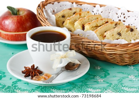 Cup of coffee, apple and fruitcake.