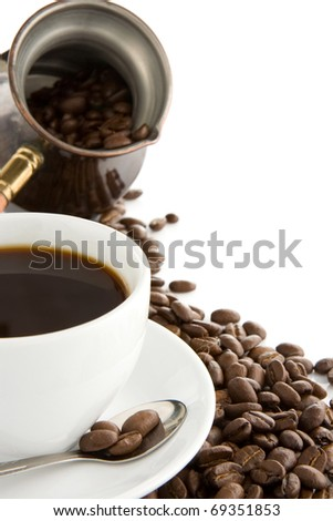 cup of coffee, beans and pot isolated on white background - stock photo