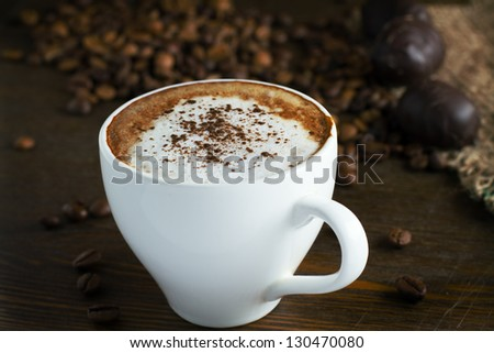 Cup of coffee. Cappuccino - stock photo