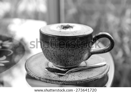 cup of coffee, Cappuccino-black and white version - stock photo